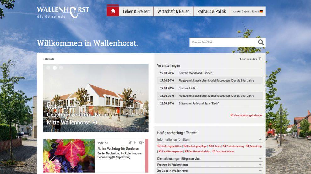 Die neue Homepage der Gemeinde Wallenhorst. Screenshot: Wallenhorster.de