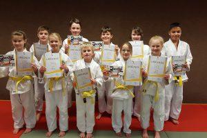 Die erfolgreichen Judoka nach ihrer Prüfung. Foto: Blau-Weiss Hollage Judoabteilung