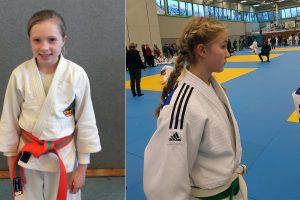 Ella und Jule beim diesjährigen Crocodiles Cup mit rund 700 Teilnehmern. Fotos: Blau-Weiss Hollage Judoabteilung