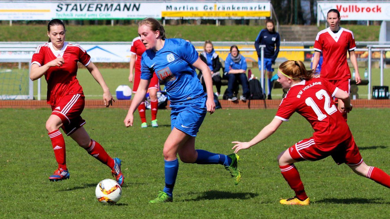 Hochkonzentriert gegen Meppen: Tessa, Patze, Steffi, Celina (v.l.n.r.). Fotos: Karl-Heinz Rickelmann