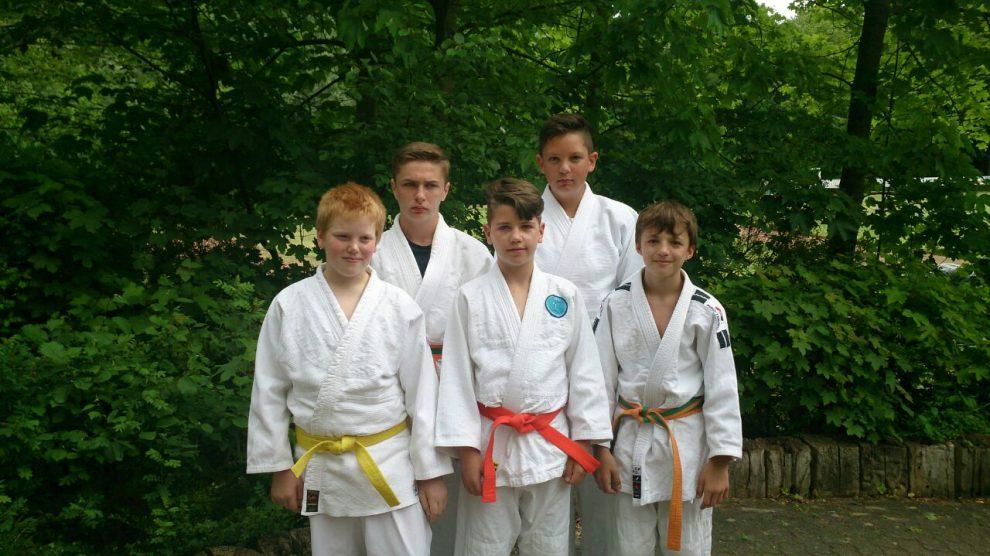Patrick, Fabian, Marwin, Justin und Niklas von Blau-Weiss Hollage (von links). Foto: Blau-Weiss Hollage