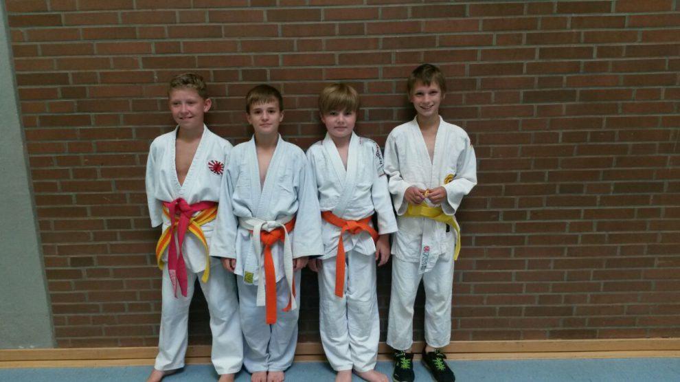 Die Teilnehmer der KEM u12, von links: Nikita (SV Alfhausen), Julius, Leon und Fabian. Foto: Blau-Weiss Hollage
