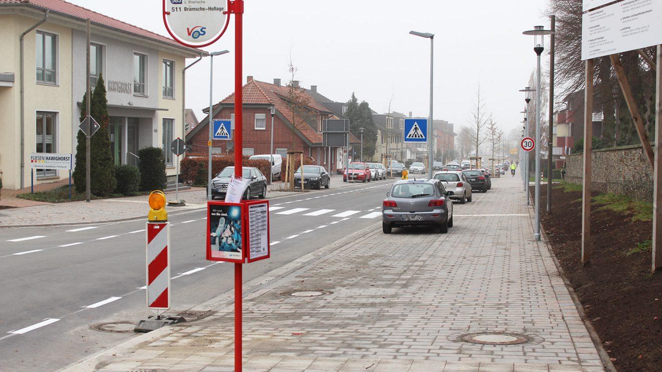 Freie Fahrt auf der Großen Straße in Wallenhorst. Auch die Bushaltestellen wurden erneuert. Foto: Wallenhorster.de