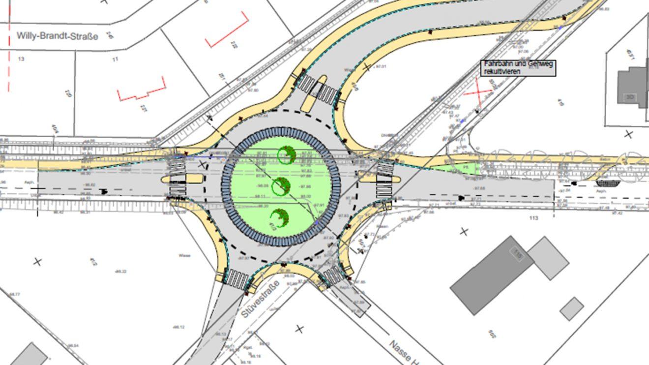 Der Kreisverkehr ist als innerörtlicher Kreisel geplant. Das bedeutet, in allen fünf Zufahrten zum Kreisel werden Fußgängerüberwege angelegt und die Radfahrer werden auf der Fahrbahn geführt und haben Vorfahrt. Foto: Gemeinde Wallenhorst