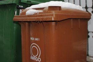 Nicht selten friert der Abfall im braunen Sammelbehälter fest, was sowohl für die Kunden als auch für die Müllabfuhr Mehraufwand bedeutet. Foto: Awigo