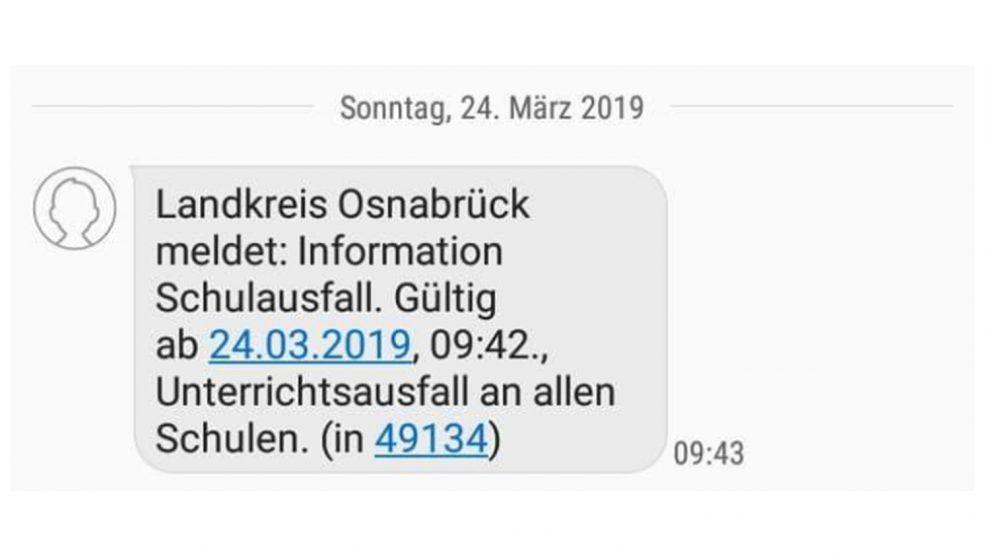 Trotz dieser Push-Mitteilung, die für Verwirrung in Wallenhorst gesorgt hat, steht fest: Der Unterricht fällt in Wallenhorst nicht aus. Die Gründe sind in unserem Artikel zu finden. Screenshot: Fuhrmann / Rothermundt / Wallenhorster.de