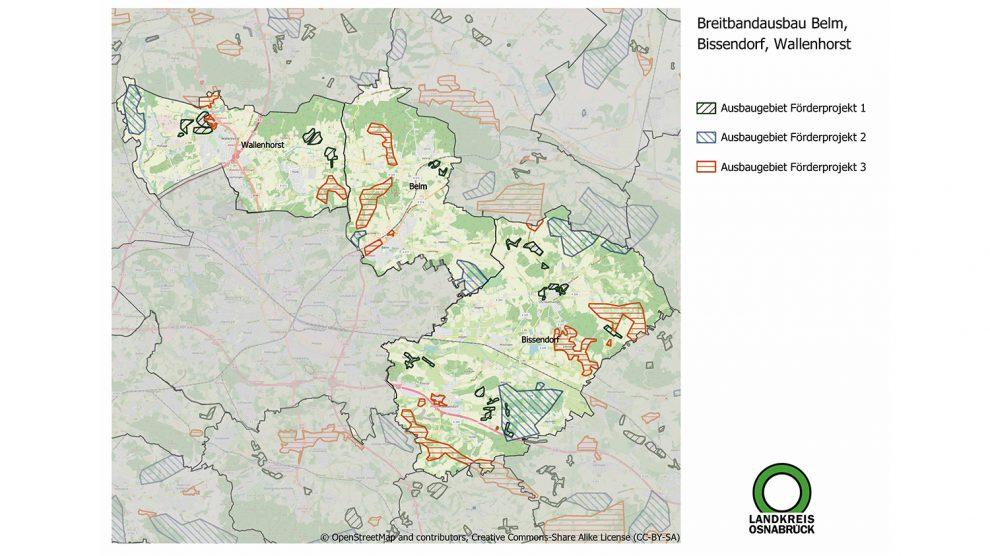 Schnelles Internet in Wallenhorst, Belm und Bissendorf: Die verschiedenen Ausbaugebiete in den drei Gemeinden sind eingezeichnet, Anfragen zu einzelnen Adressen können an die E-Mail-Adresse breitband@Lkos.de gesendet werden. Grafik: Landkreis Osnabrück