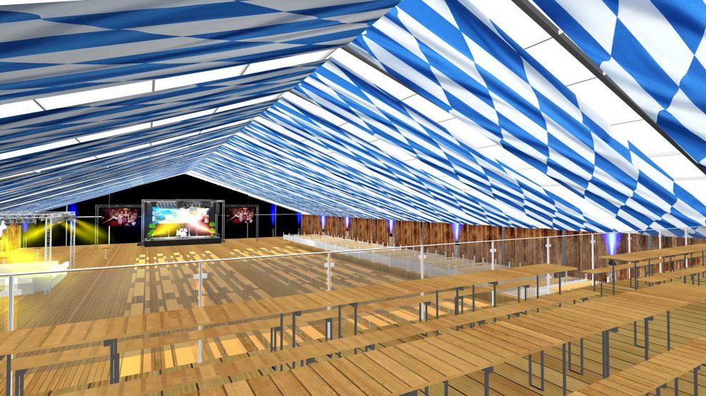 Diesen Blick von der drei Meter hohen Empore ins Festzelt können diejenigen genießen, die einen Tisch auf der neuen Empore im Hollager Festzelt buchen. Visualisierung: Road Sound Veranstaltungstechnik GmbH