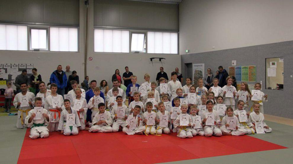 Die 50 Teilnehmer bei den diesjährigen Judo-Vereinsmeisterschaften in Hollage. Foto: Blau-Weiss Hollage