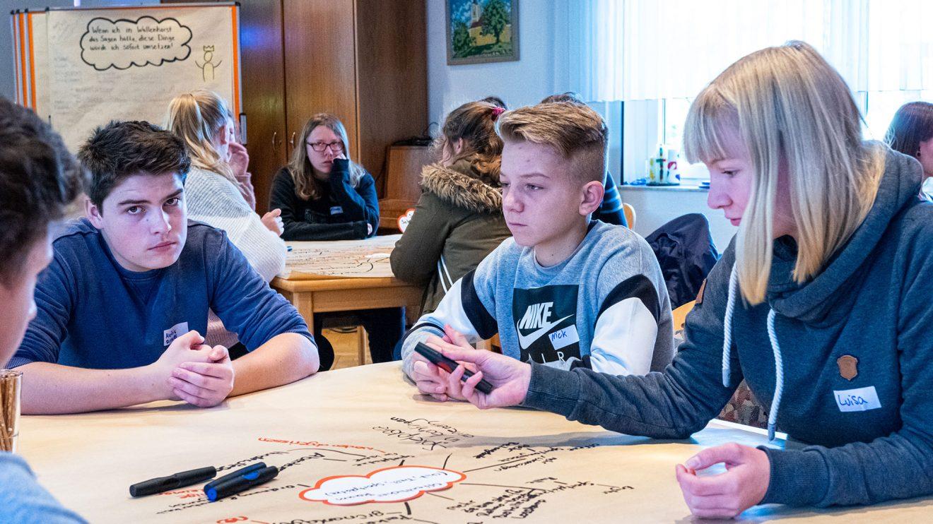In Kleingruppen diskutieren die Jugendlichen verschiedene Themenbereiche. Foto: Gemeinde Wallenhorst / Ulla Kocks