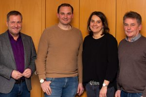 Guido Pott (SPD/FDP-Gruppenvorsitzender, Stefan Grothaus, Anika Reinink, Hans Stegemann (Ratsvorsitzender) (v.l.n.r.). Foto: Hendrik Remme