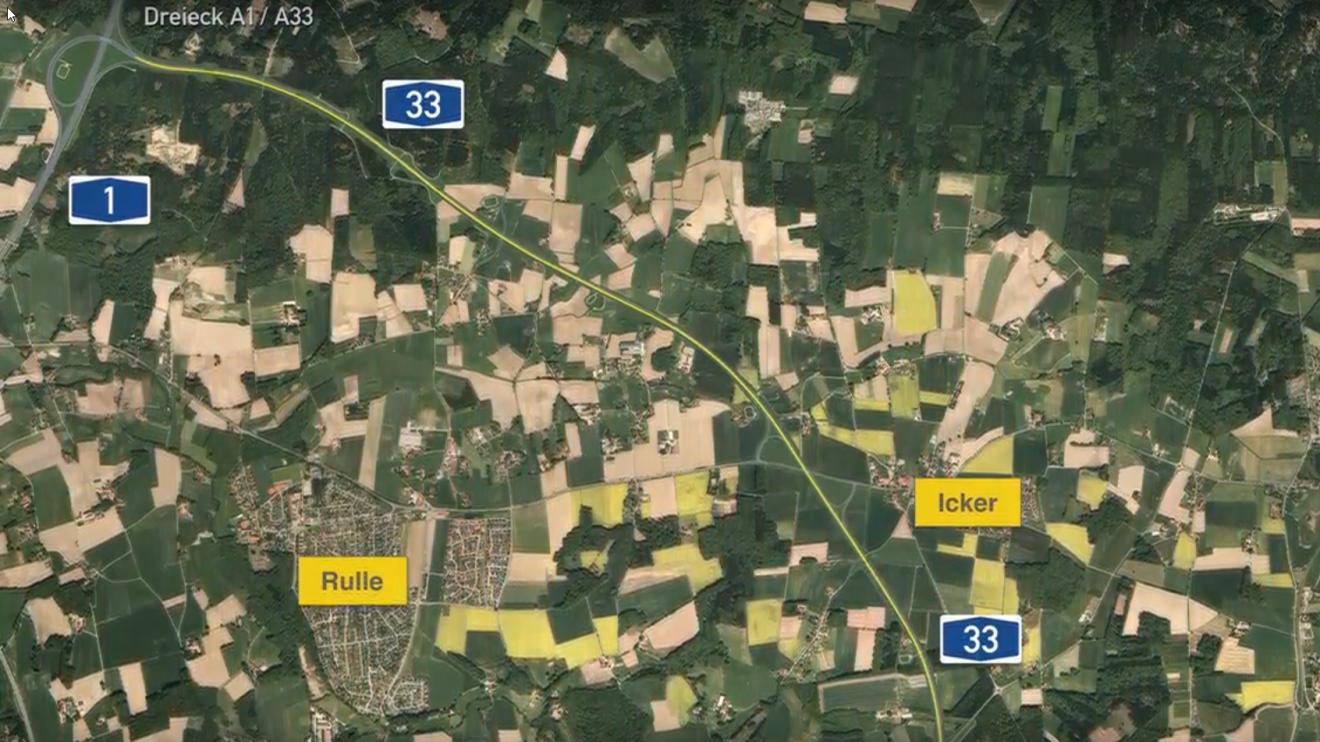 Die geplante Trasse der A33-Nord. Kartenausschnitt: Niedersächsische Landesbehörde für Straßenbau und Verkehr