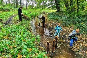 Mit den selbst gebauten Strömungslenkern verbessern die Kinder die Lebensbedingungen der Tiere im Lechtingen Bach. Foto: Isabella Draber / Gemeinde Wallenhorst