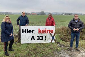Beziehen klar Position gegen die A33-Nord: Die SPD-Ratsmitglieder (v.l.) Sabine Steinkamp, Stefan Grothaus, Hans Stegemann und Guido Pott. Foto: SPD Wallenhorst
