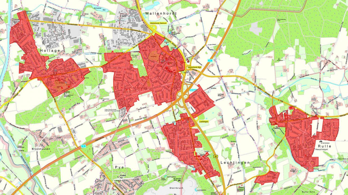 Diese Gebiete werden in den kommenden Monaten durch Glasfaser Nordwest ausgebaut. Karte: Gemeinde Wallenhorst