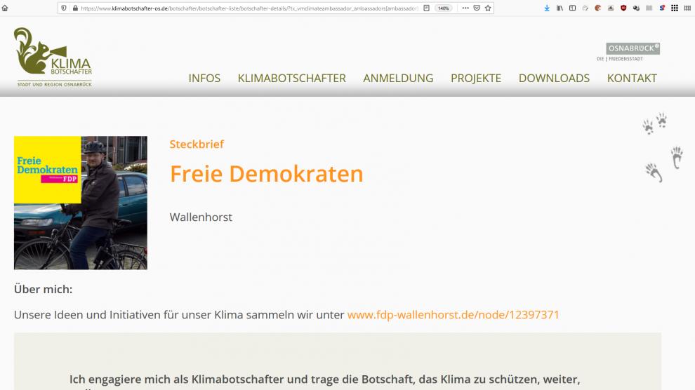 Der Steckbrief der FDP Wallenhorst auf der Seite klimabotschafter-os.de. Screenshot: FDP Wallenhorst