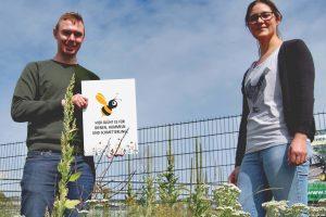 Eine blühende Wiese als Nahrung und Schutz für Wildtiere. Felix Sauer (Stavermann GmbH) und die Wallenhorster Umweltbeauftragte Isabella Draber sind mit dem Ergebnis der Aussaat zufrieden. Foto: Gemeinde Wallenhorst