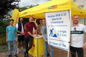 Um vom Nutzen des Lückenschlusses der A33-Nord zwischen Icker und Rulle zu überzeugen, haben sich die Jungen Liberalen (JuLis) am letzten Freitag auf dem zentralen Dorfplatz in Rulle zusammengefunden. Foto: Andreas Wenk